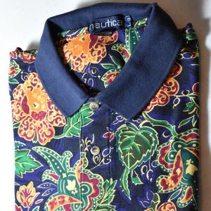 Nautica Mens Flower MultiColor Large SS Polo